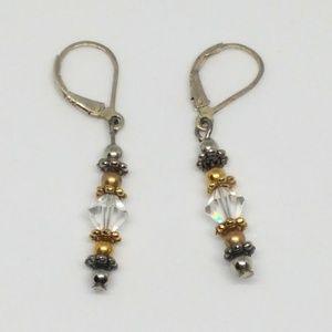 Sterling Silver Gold Tone Crystal Dangle Earrings